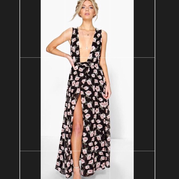 07616e1eb356 Boohoo Dresses | Floral Print Maxi Wrap Dress | Poshmark